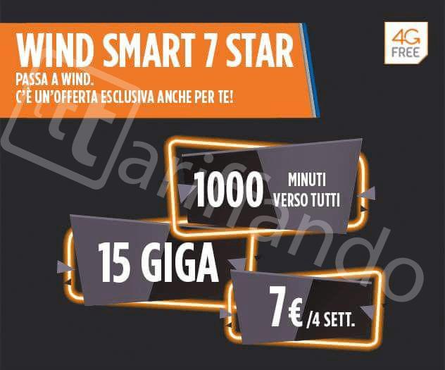Wind Smart 7 Star 1000 minuti 15 GB di Internet