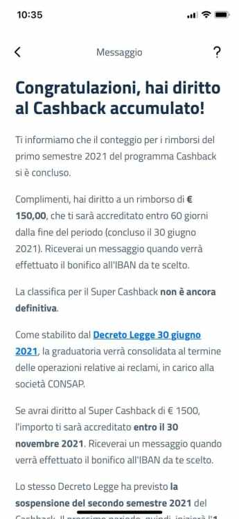 cashback messaggio app io
