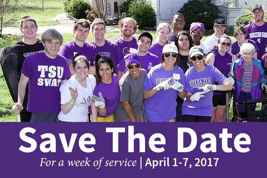 Tarleton community helping on a service project
