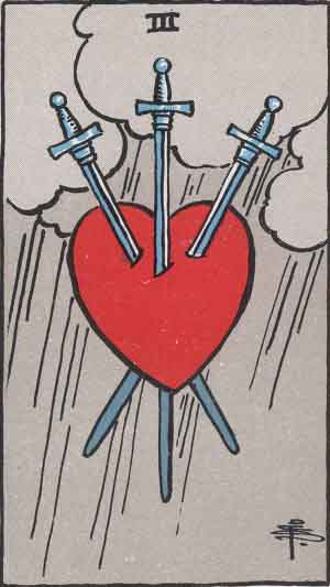 Three of Swords Tarot card