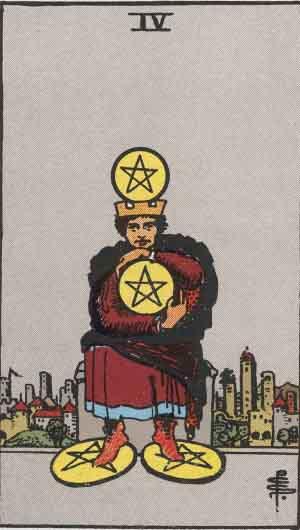 Four of Pentacles Tarot card