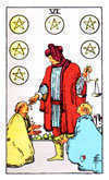 Tarot Minor Arcana card: Six of Pentacles