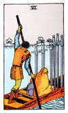 Tarot Minor Arcana card: Six of Swords