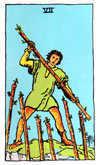 Tarot Minor Arcana card: Seven of Wands