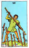 Tarot Minor Arcana card: Seven of Wands