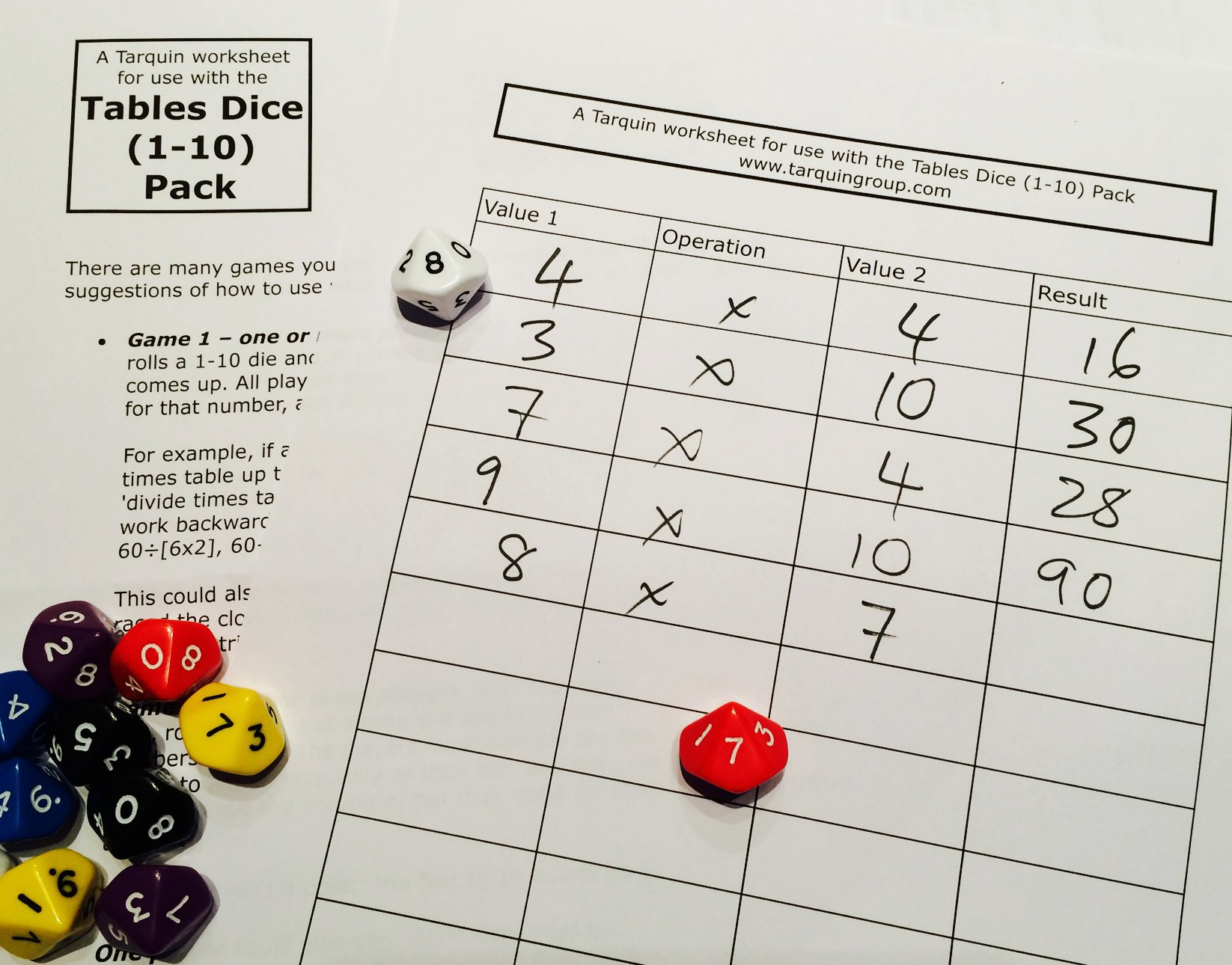 Multiplication Times Tables Dice Pack For Parents Up To