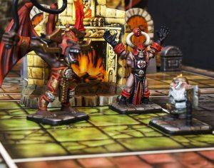 Dwarf fighting sorcerer and gargoyle