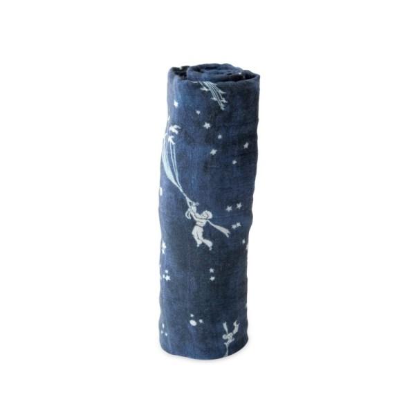 """Manta/Muselina de algodão Azul """"O Principezinho"""" Tartaruguita"""