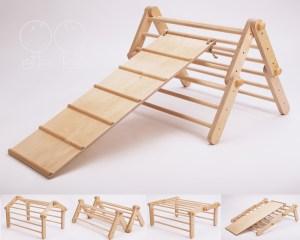 "Triângulo Pikler articulável com rampa ""Mopitri"" Tartaruguita"