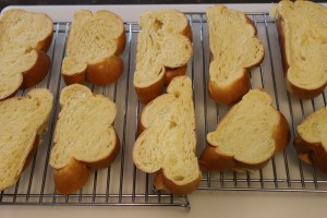 Drying the bread. The racks help with air circulation so the bread dries evenly.