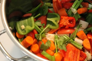 Vegetables in the stockpot.