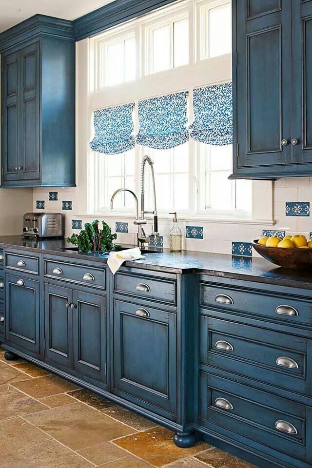 mavi mutfak perdesi