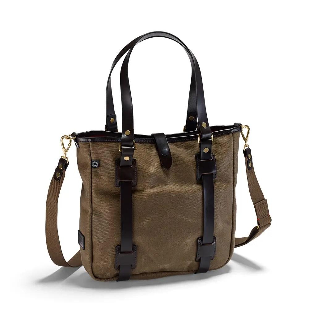 Die handgemachte Vintage Tote Bag in Olivefarben in der Frontalansicht