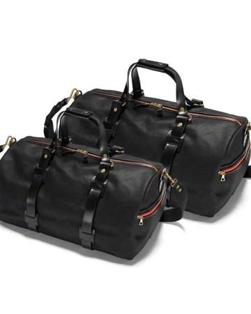 Die mittlere und große Croots Vintage Range Duffle Holdall Black in Front mit wunderschönem schwarzem Leder
