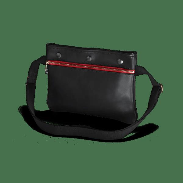 Vintage Sacocht Leder von vorne schwarz