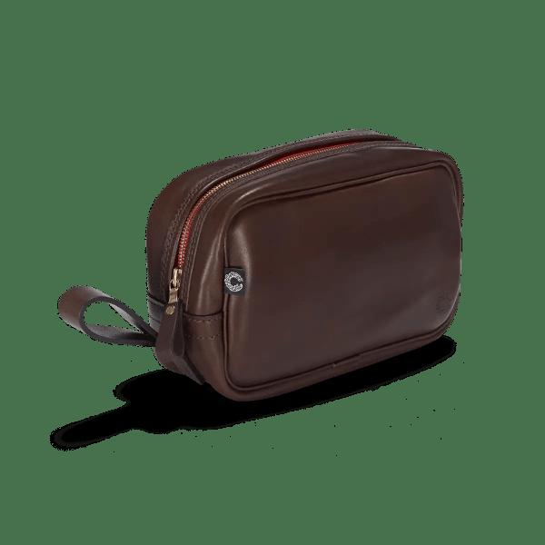 Vintage Leder Waschtasche Dark Brown von vorne