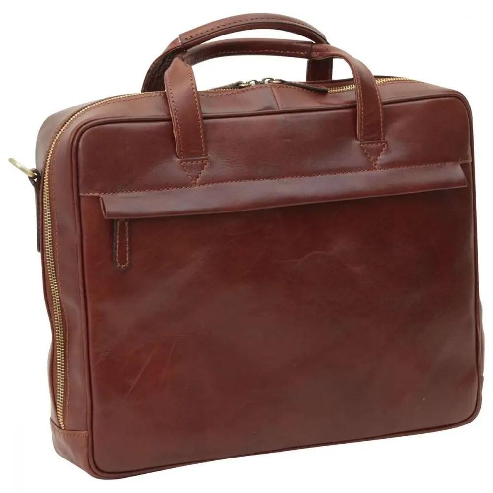 Front Leder Laptoptasche mit Reißverschluss braun