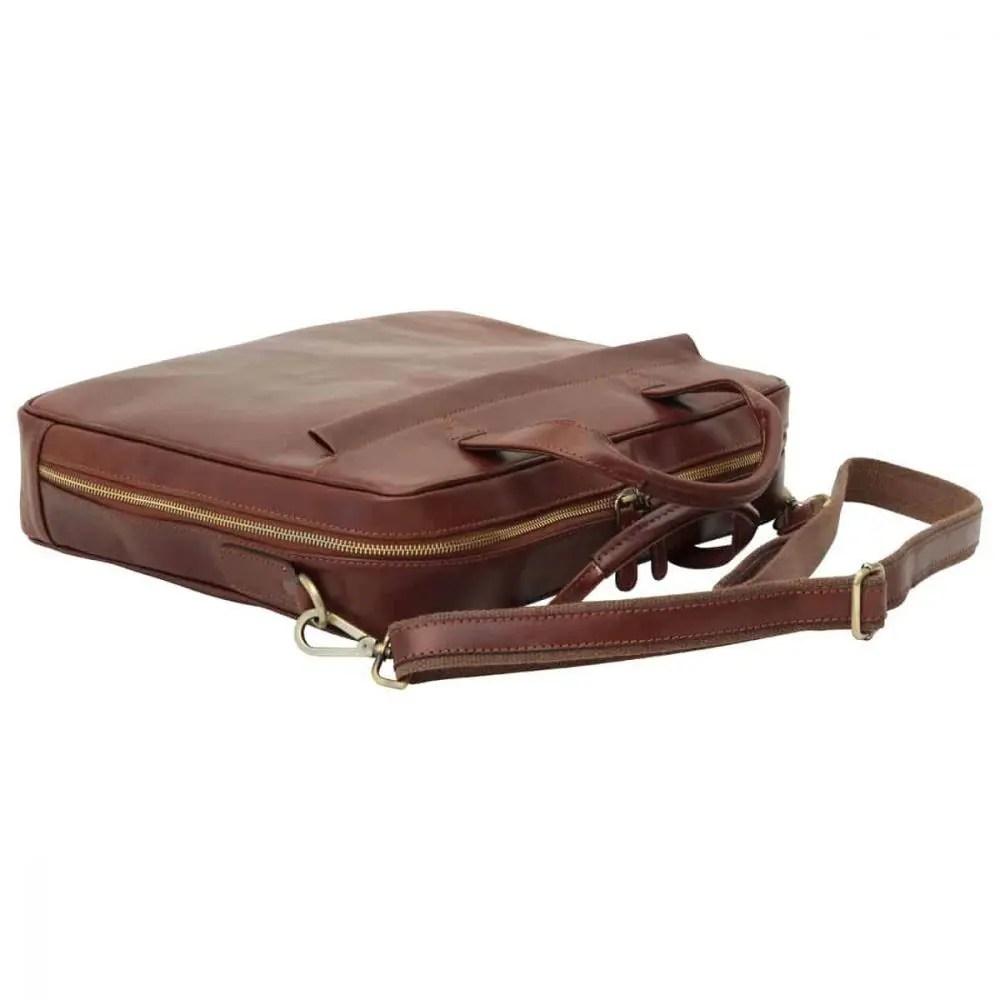 Liegende Leder Laptoptasche mit Reißverschluss braun