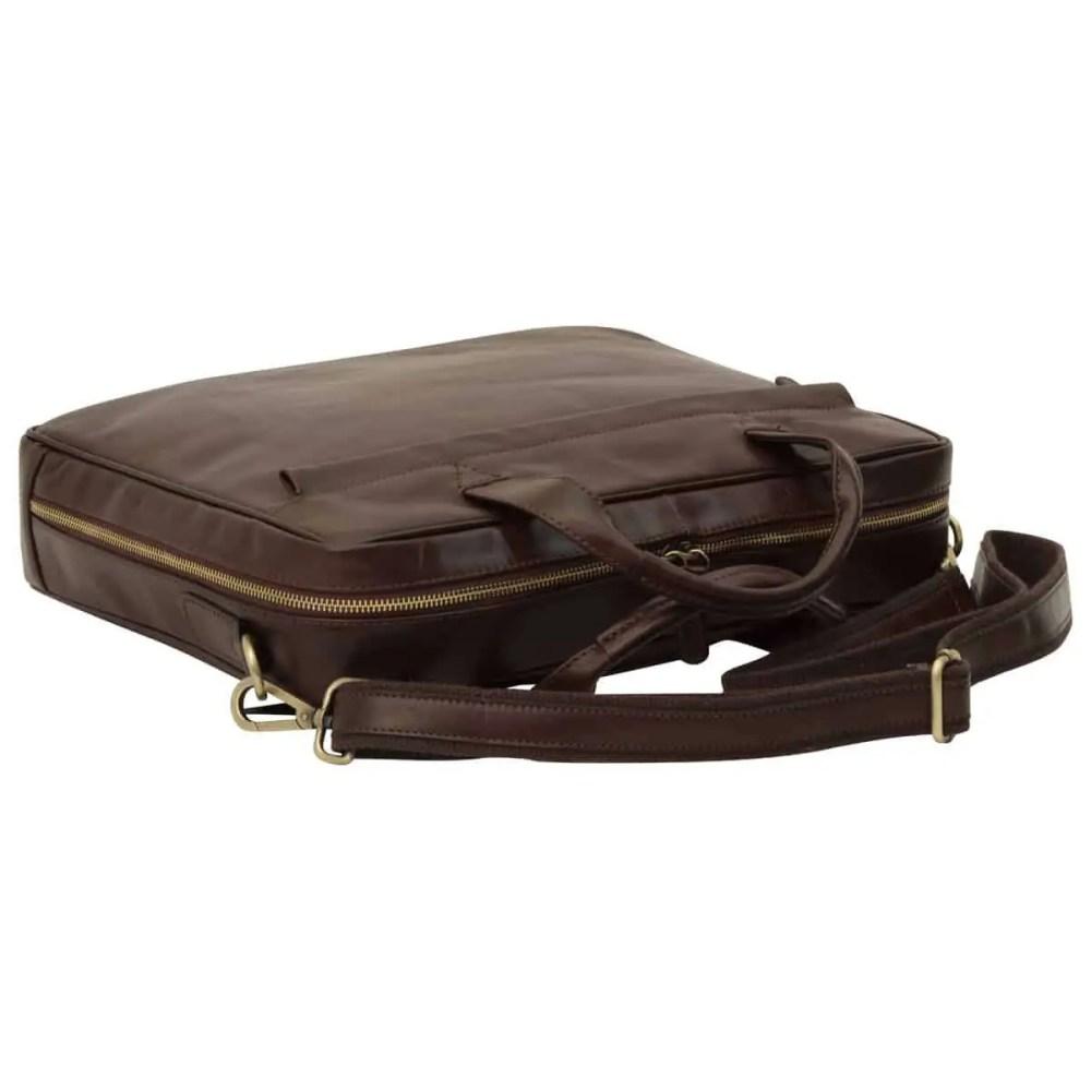 Liegende Leder Laptoptasche mit Reißverschluss dunkelbraun