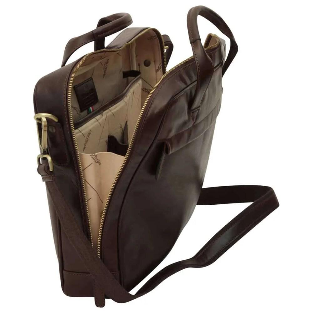 Offene Leder Laptoptasche mit Reißverschluss dunkelbraun