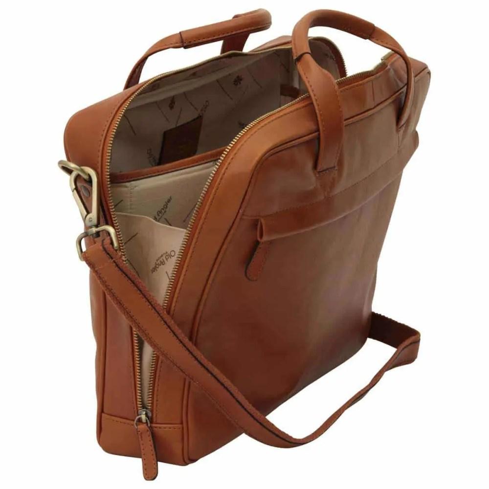 Offene Leder Laptoptasche mit Reißverschluss Kolonial