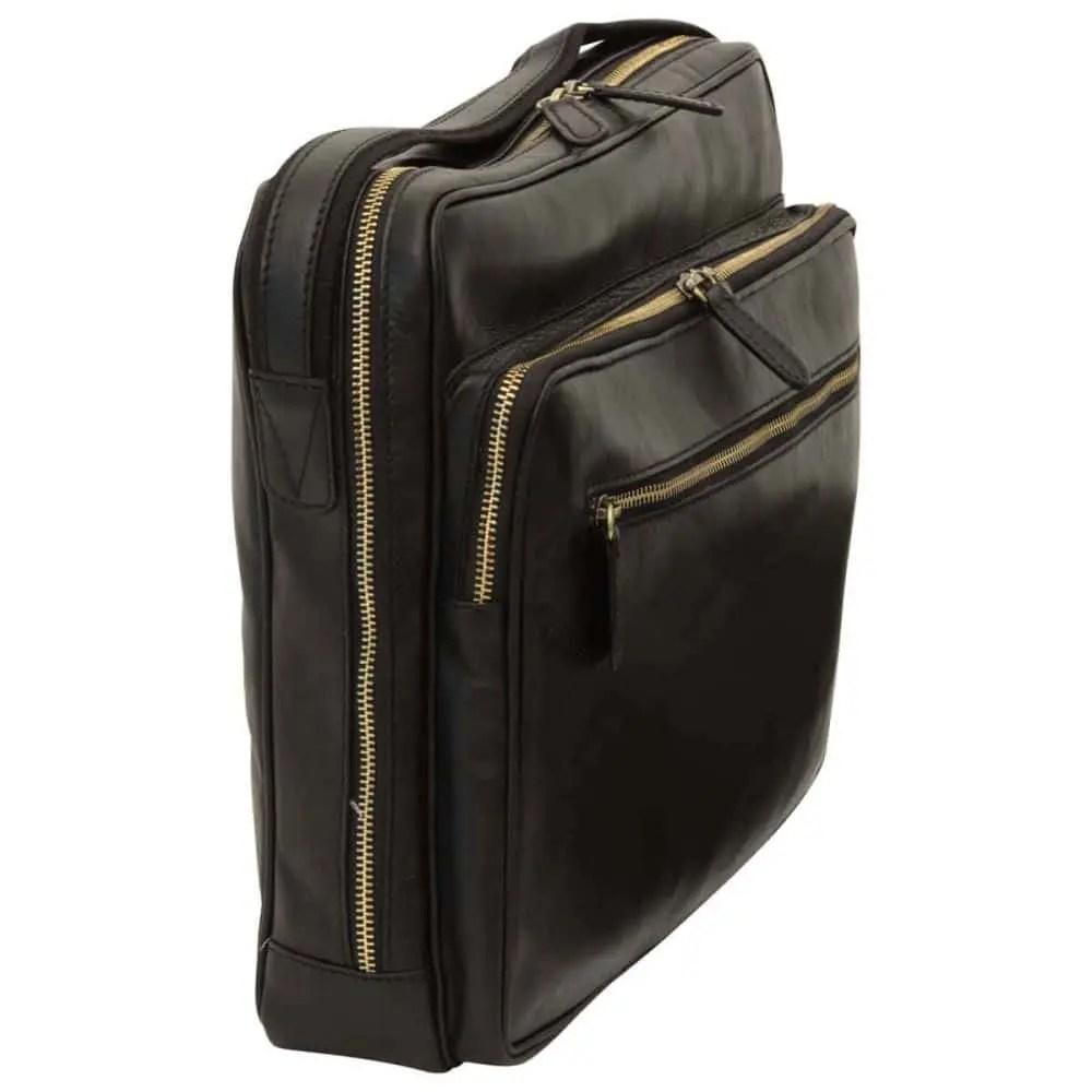 Quer stehende Große Laptoptasche aus Leder Schwarz