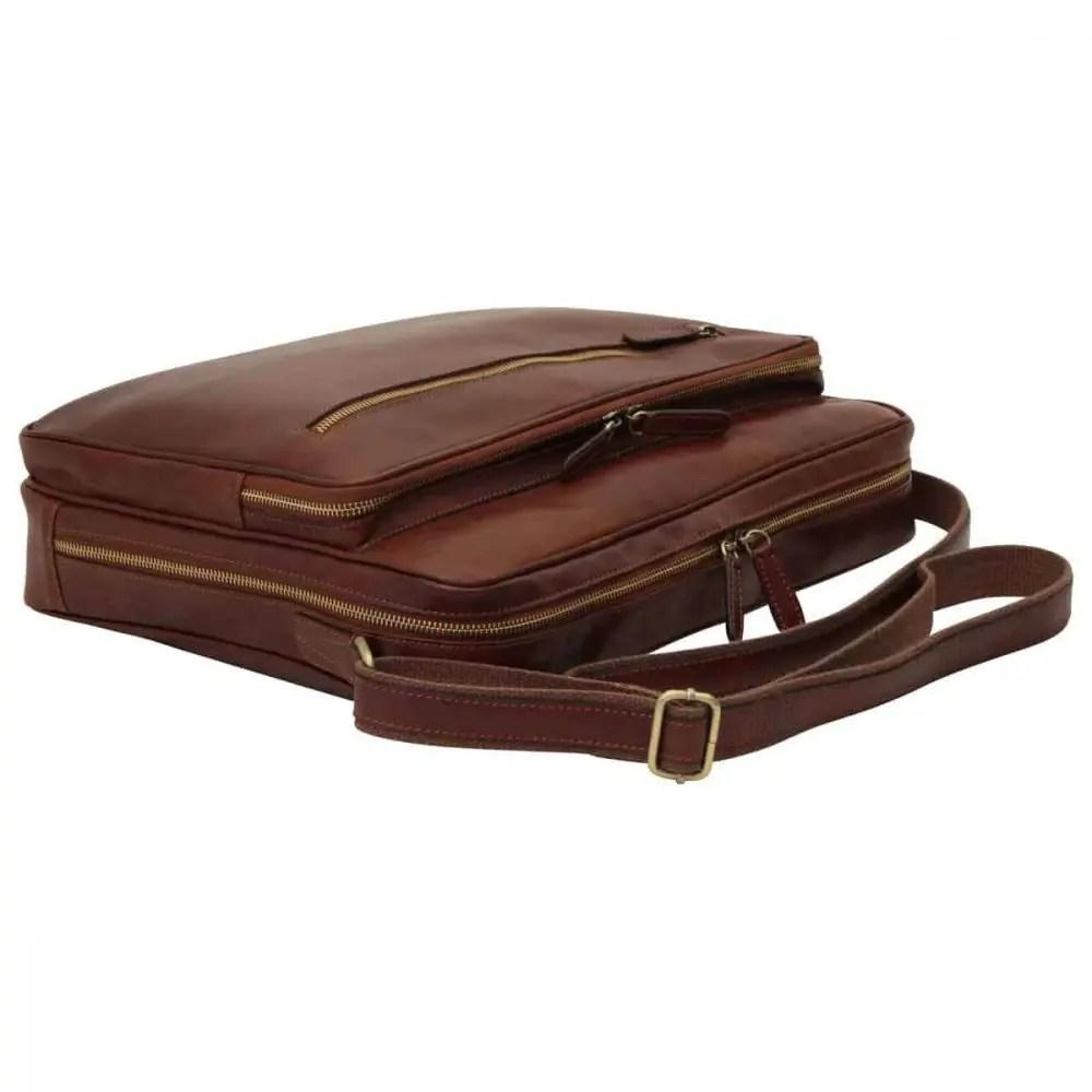 Liegende Große Laptoptasche aus Leder Braun