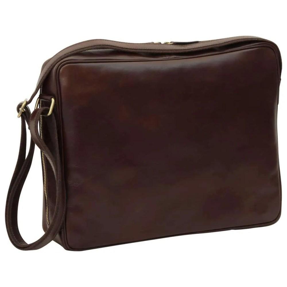 Rückseite Große Laptoptasche aus Leder Dunkelbraun
