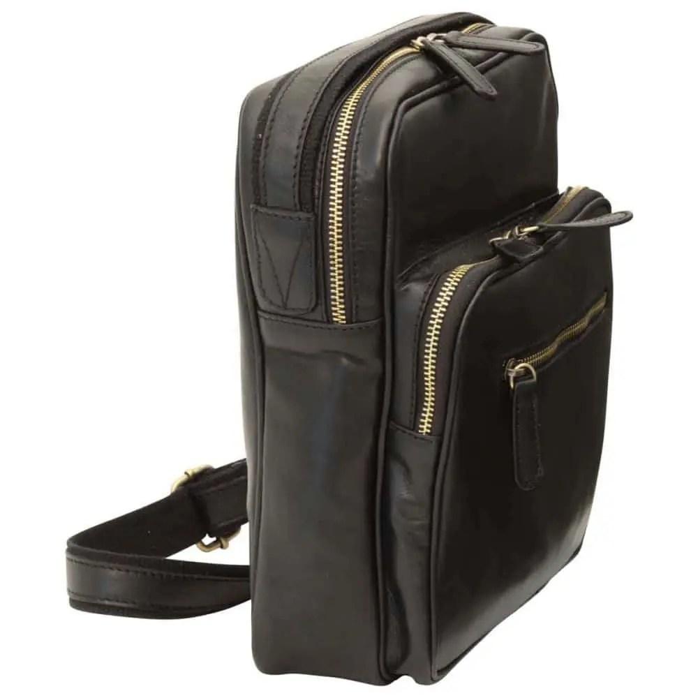 Seite kleine Laptoptasche aus Leder Schwarz