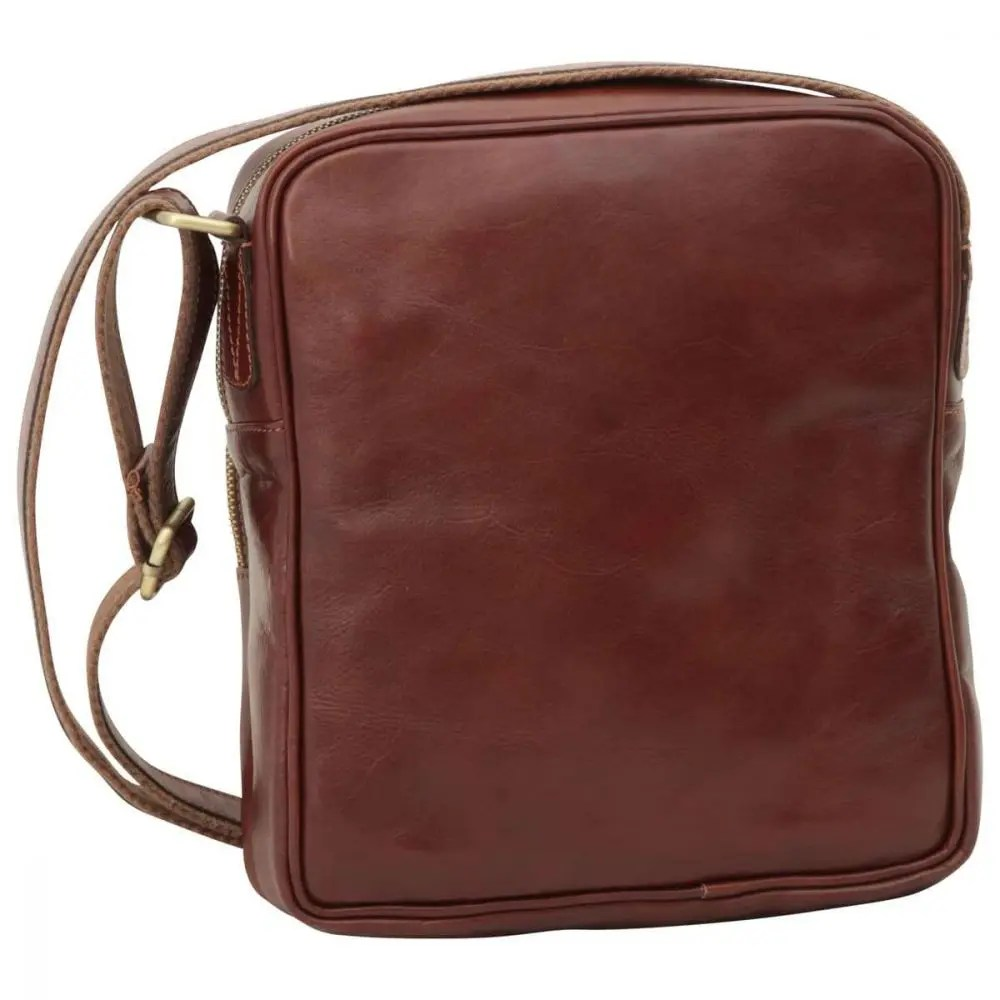 Rückseite kleine Laptoptasche aus Leder Braun