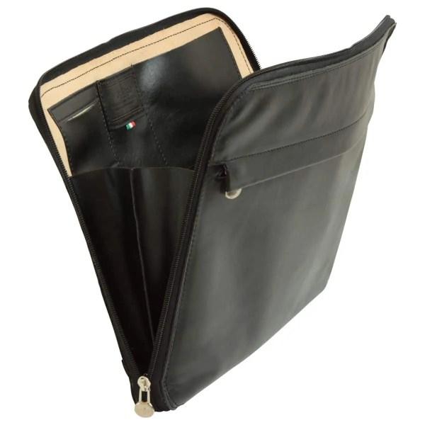 Weit offene Leder Portfolio black