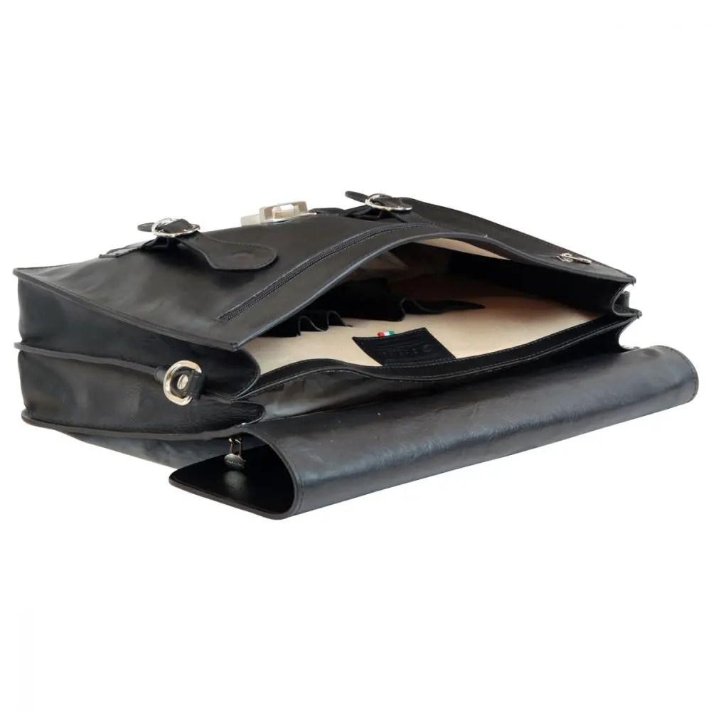 Geöffnet schwarzer Leder-Ordner mit Schnallen