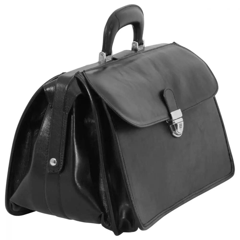 Quer stehende Arzttasche aus Leder schwarz
