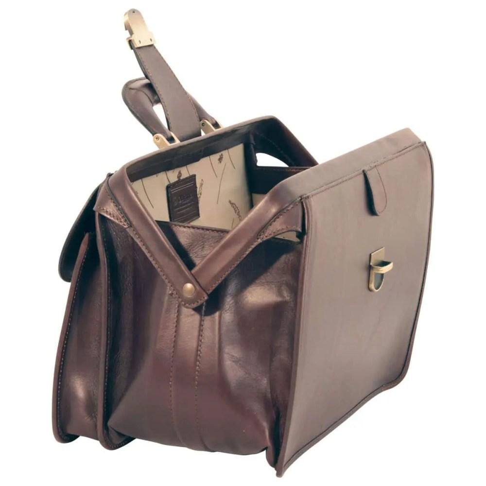 Offene Arzttasche aus Leder dunkelbraun
