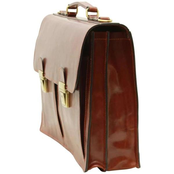 Quer stehende Lederaktentasche mit 2 Fronttaschen