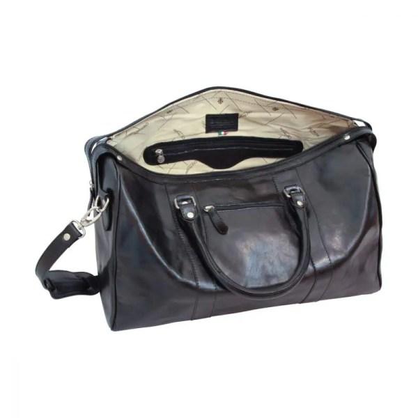 Offene Reisetasche mit Schultergurt schwarz