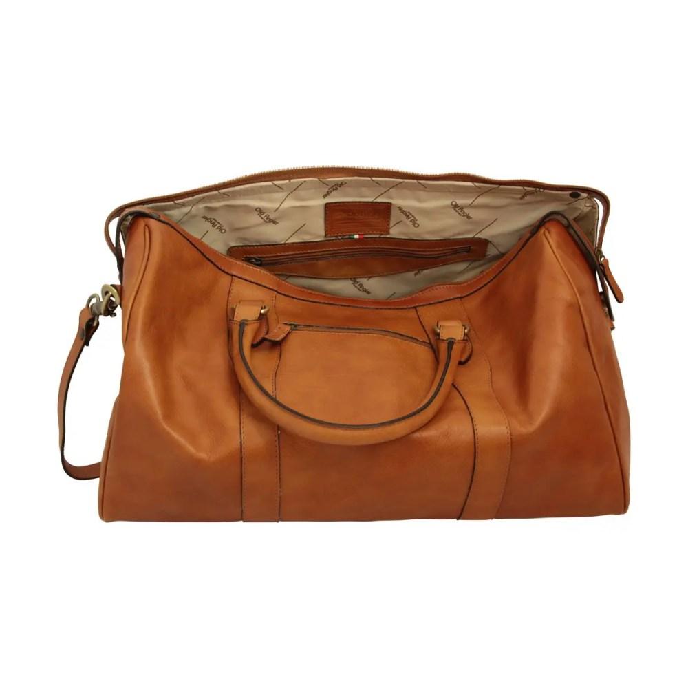 Offene Reisetasche mit Schultergurt kolonial