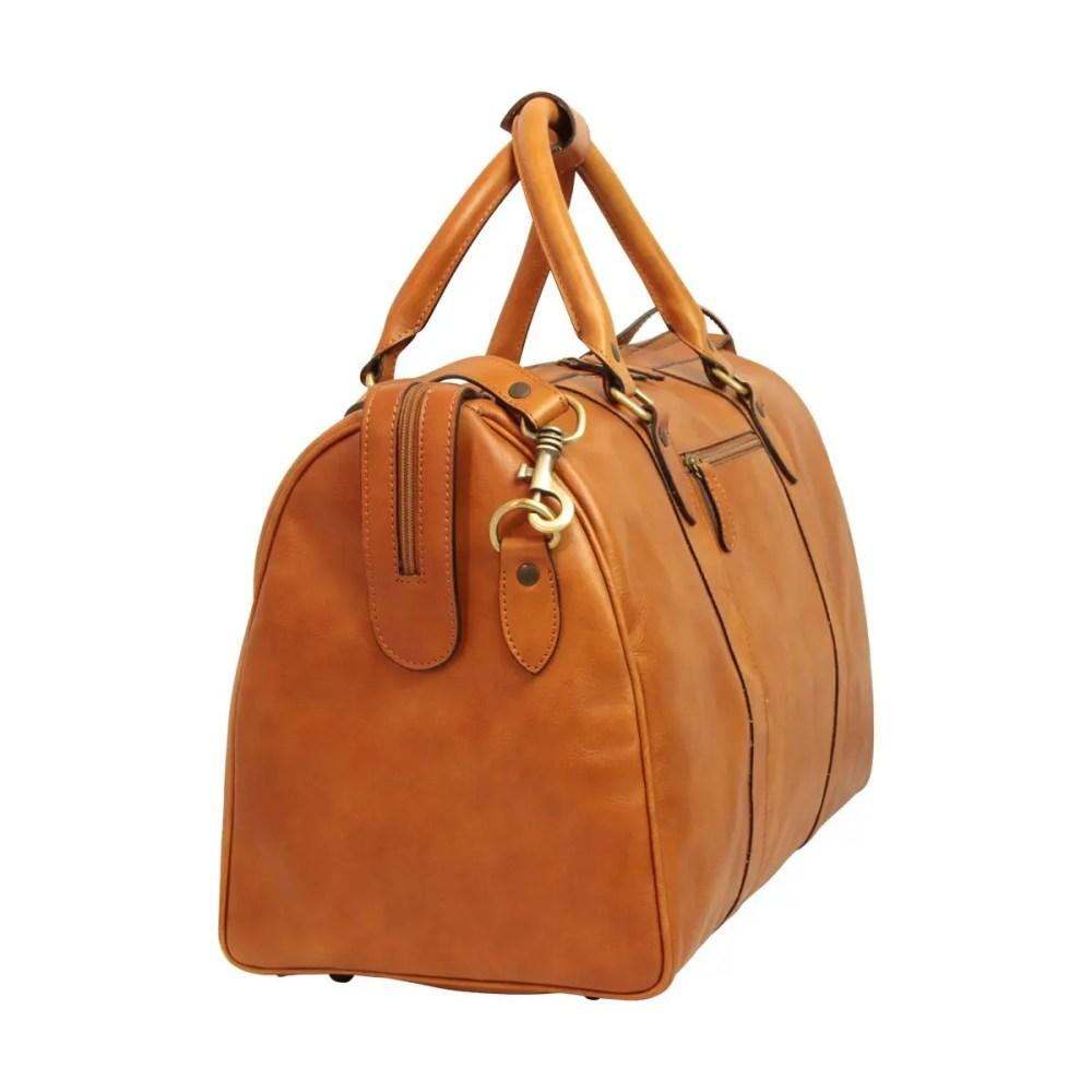 Seitenansicht Reisetasche mit Schultergurt kolonial