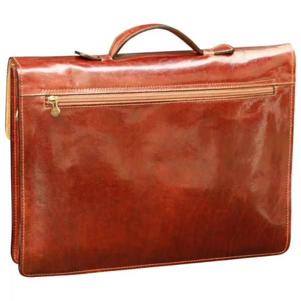 Rückseite Business Lederaktentasche Braun