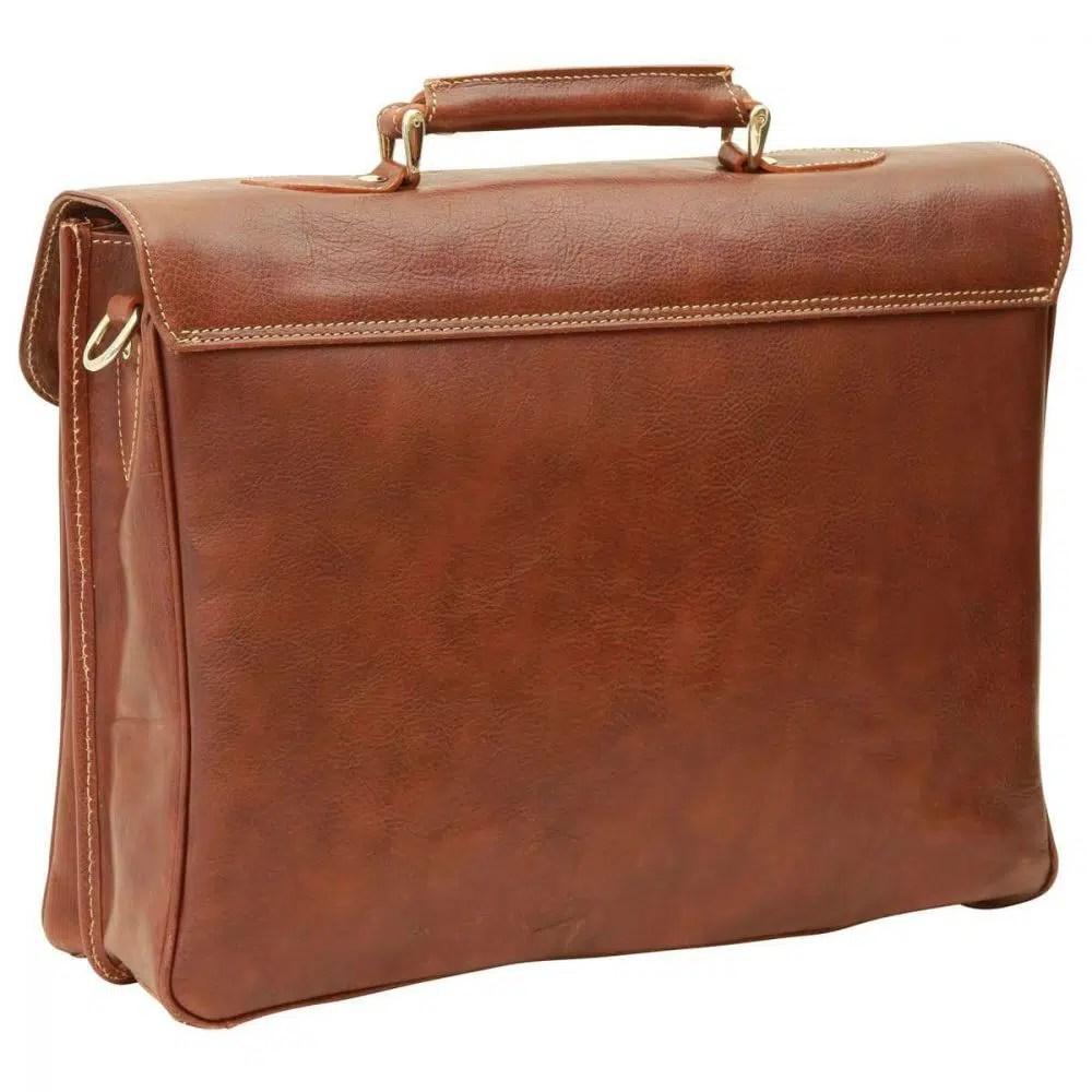 Rückseite Laptoptasche 16 Zoll mit Schulterriemen Kastanie
