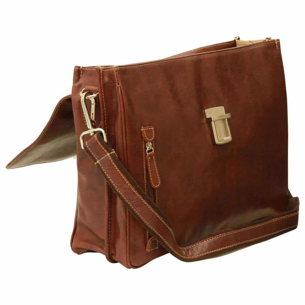 Offene Laptoptasche 16 Zoll mit Schulterriemen Kastanie