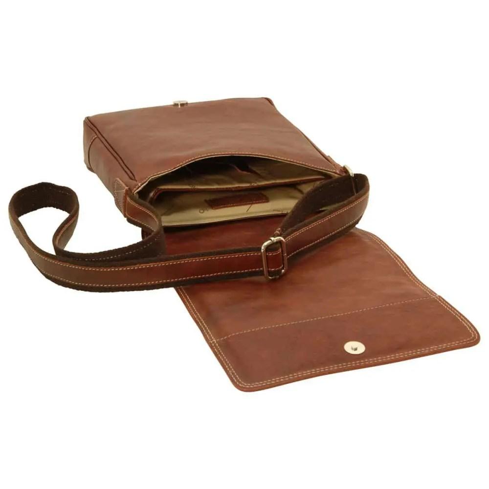 Offene IPad Tasche aus Leder Kastanie