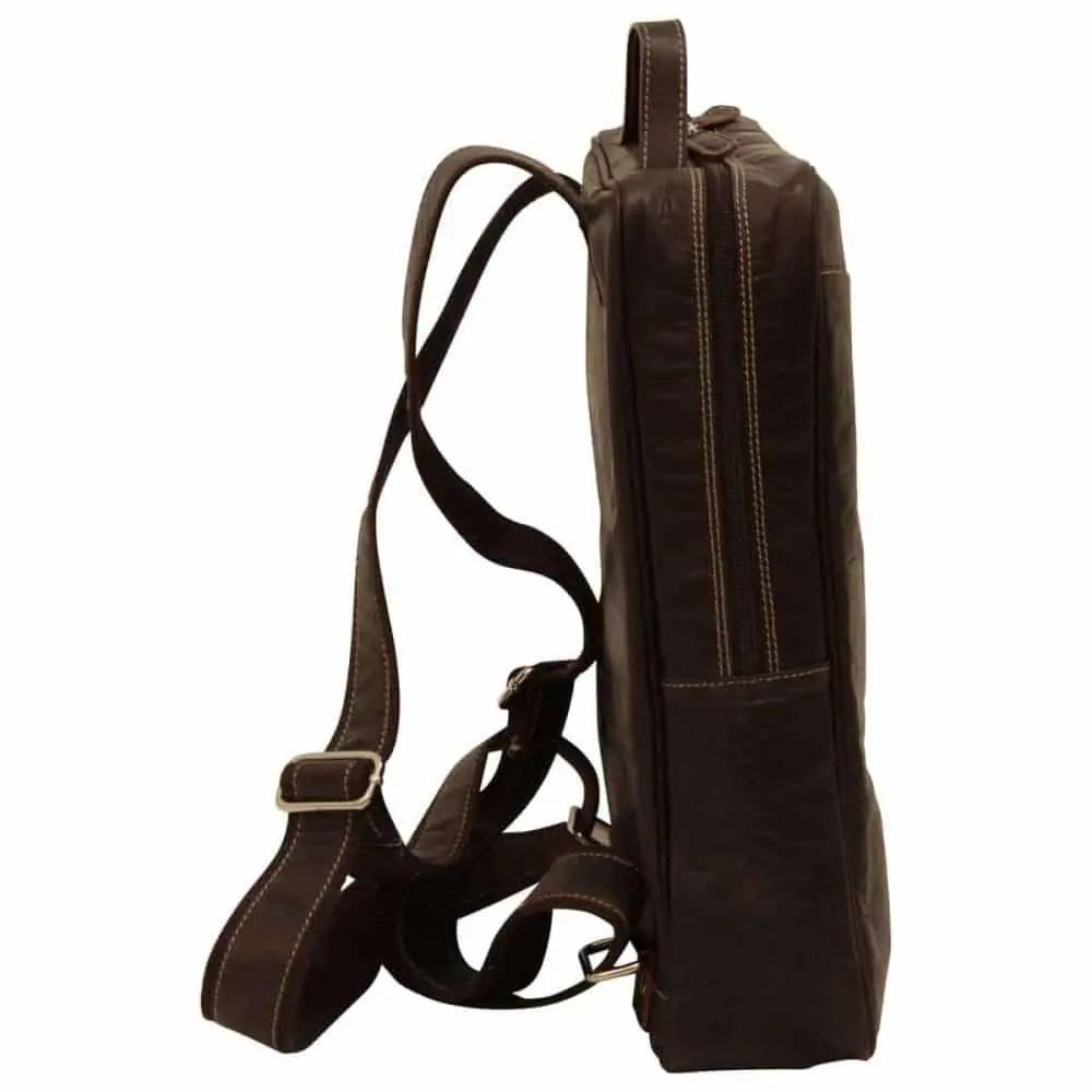 Quer stehender Lederrucksack 15 Zoll Dunkelbraun