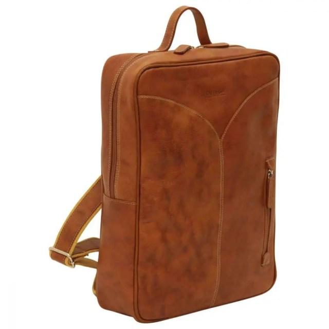 Laptop rucksack geoeltes kalbsleder kolonial front