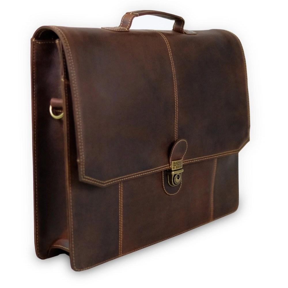 Querstehende Leder Briefcase Sierra Braun