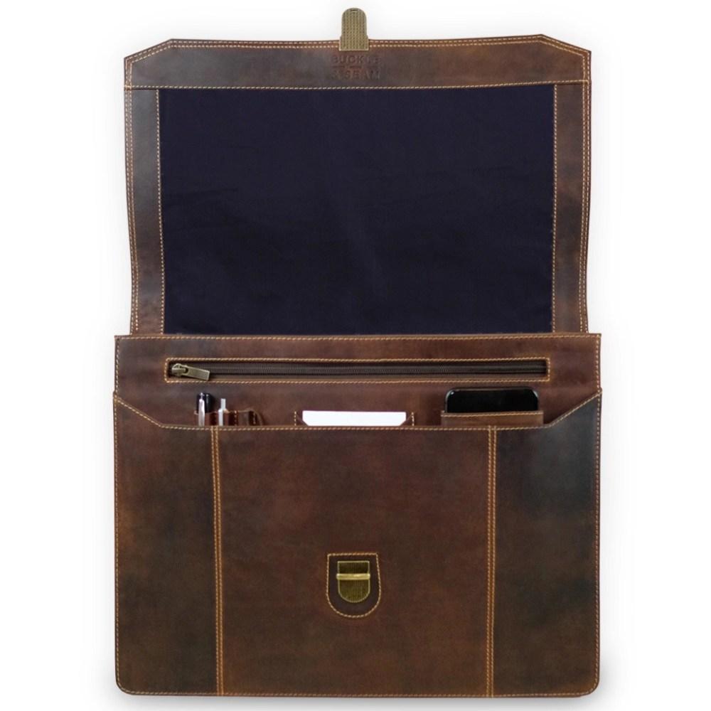 Leder Briefcase Sierra Braun offen