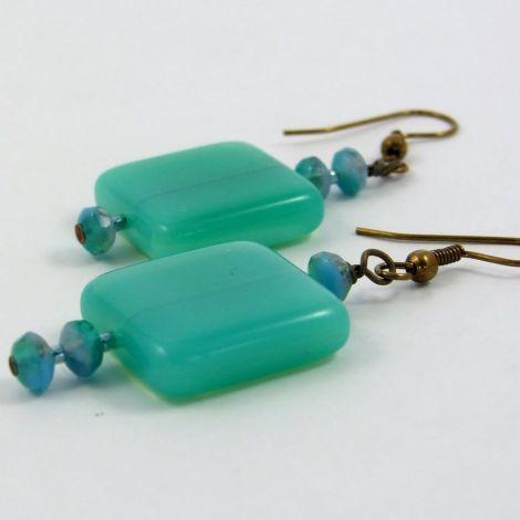 Green Square Dangle Earrings