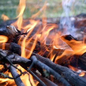 An open camp fire