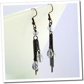 Brass Chain & Crystal Teardrop Earrings_04