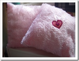 Pair of Pink Fluffy Cushions by LoopyLou on ArtFire